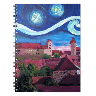 Starry Night in Nuremberg Germany with Castle Notebook