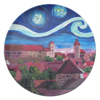 Starry Night in Nuremberg Germany with Castle Plate