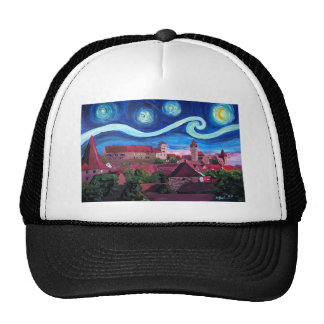 Starry Night in Nuremberg Germany with Castle Trucker Hat