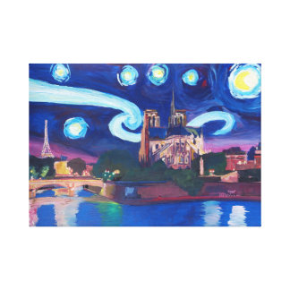 Starry night in Paris France Canvas Print