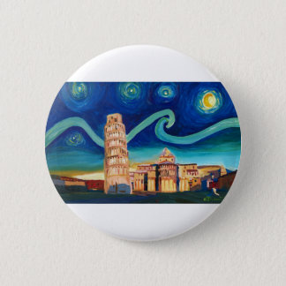 Starry Night in Pisa with Leaning Tower 2 Inch Round Button