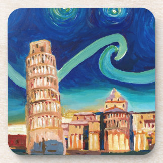 Starry Night in Pisa with Leaning Tower Beverage Coaster