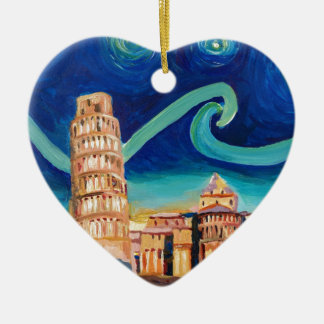 Starry Night in Pisa with Leaning Tower Ceramic Heart Ornament