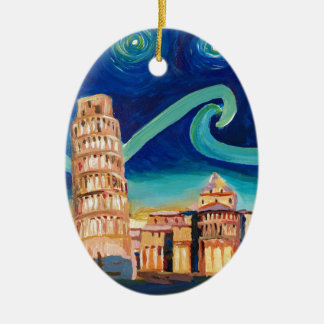 Starry Night in Pisa with Leaning Tower Ceramic Oval Ornament