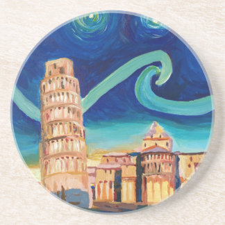 Starry Night in Pisa with Leaning Tower Drink Coasters