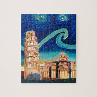 Starry Night in Pisa with Leaning Tower Jigsaw Puzzle