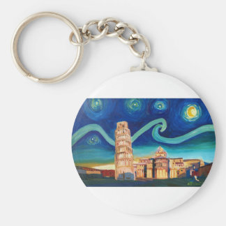 Starry Night in Pisa with Leaning Tower Keychain