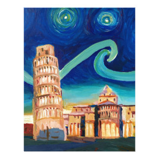 Starry Night in Pisa with Leaning Tower Letterhead