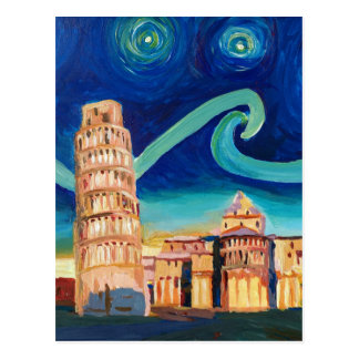 Starry Night in Pisa with Leaning Tower Postcard
