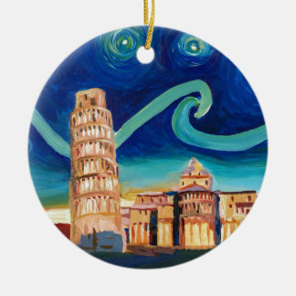 Starry Night in Pisa with Leaning Tower Round Ceramic Ornament
