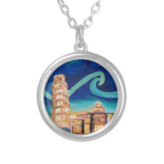 Starry Night in Pisa with Leaning Tower Silver Plated Necklace