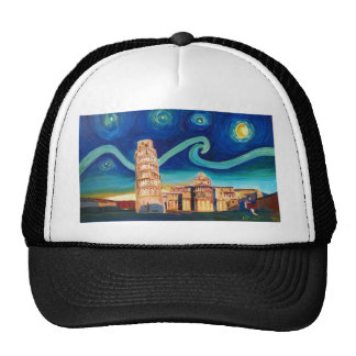 Starry Night in Pisa with Leaning Tower Trucker Hat