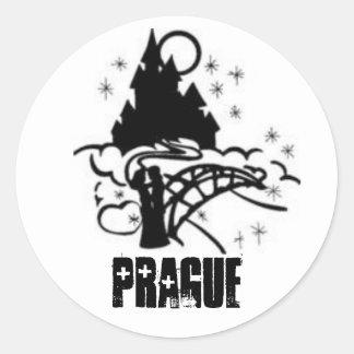 Starry Night In Prague Round Sticker