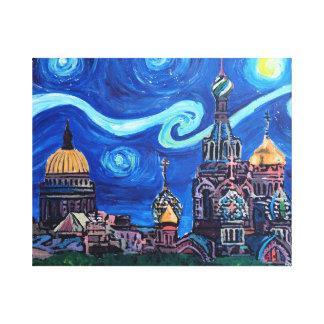 Starry Night in Saint Petersburg Russia Canvas Print