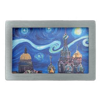 Starry Night in St Petersburg Russia Belt Buckles