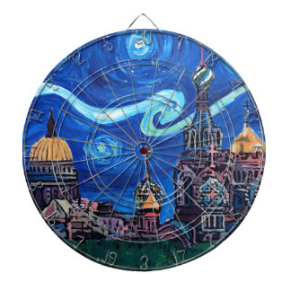 Starry Night in St Petersburg Russia Dartboard
