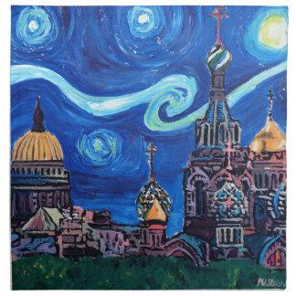 Starry Night in St Petersburg Russia Napkin