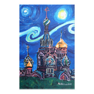 Starry Night in St Petersburg Russia Stationery