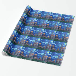 Starry Night in St Petersburg Russia Wrapping Paper