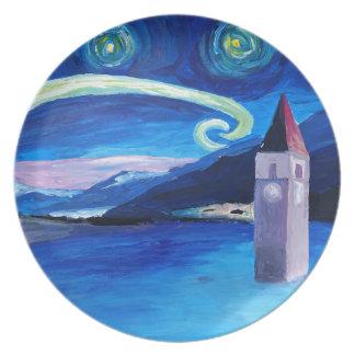 Starry Night in Switzerland - Vierwaldstätter See Plate