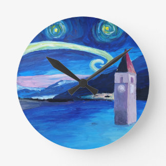 Starry Night in Switzerland - Vierwaldstätter See Round Clock