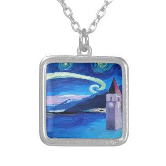 Starry Night in Switzerland - Vierwaldstätter See Silver Plated Necklace