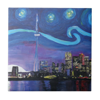 Starry Night in Toronto with Van Gogh Inspirations Ceramic Tile