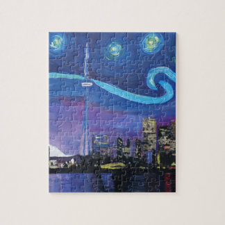 Starry Night in Toronto with Van Gogh Inspirations Jigsaw Puzzle