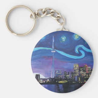 Starry Night in Toronto with Van Gogh Inspirations Keychain