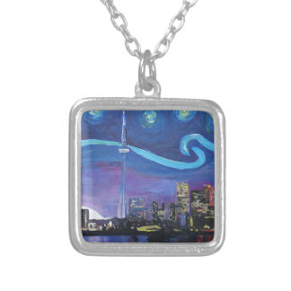 Starry Night in Toronto with Van Gogh Inspirations Silver Plated Necklace