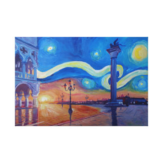 Starry Night in Venice Italy San Marco with Lion Canvas Print