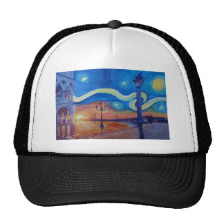 Starry Night in Venice Italy - San Marco with Lion Trucker Hat