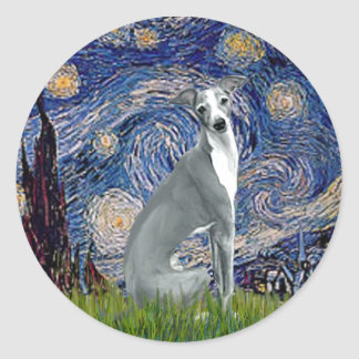 Starry Night-Italian Greyhound 4 (sit) Classic Round Sticker