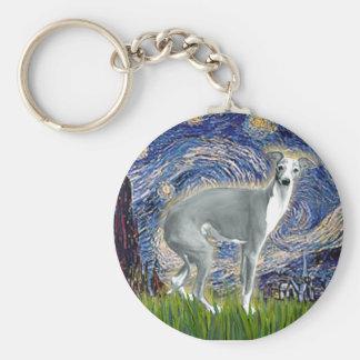Starry Night - Italian Greyhound 4darkgreystand Basic Round Button Keychain