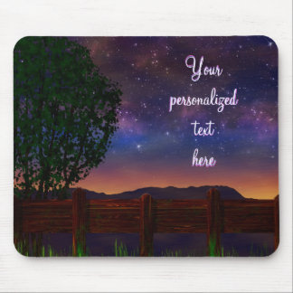 Starry Night Landscape - with customizable text - Mouse Pad