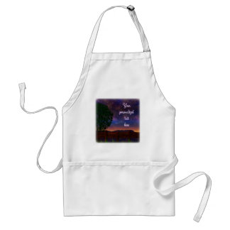 Starry Night Landscape - with customizable text - Standard Apron