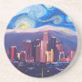 Starry Night Los Angeles California Beverage Coasters