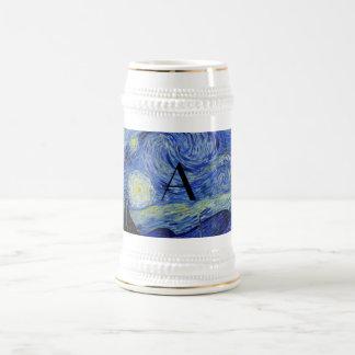 Starry night monogram coffee mug