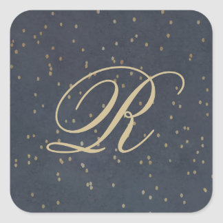 Starry night monogram sticker