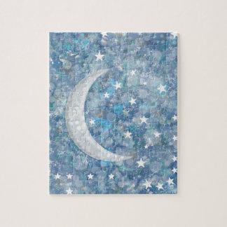 Starry night moon splatter of paint illustration puzzles