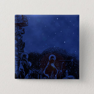 Starry Night Nativity 2 Inch Square Button