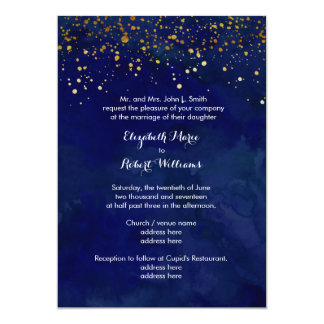 Starry Night Navy and Faux Gold Glitter Card