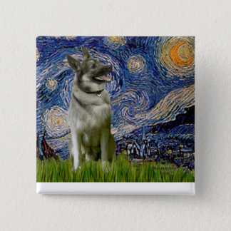 Starry Night - Norwegian Elkhound 2 Inch Square Button