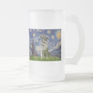Starry Night - Norwegian Elkhound Frosted Glass Beer Mug