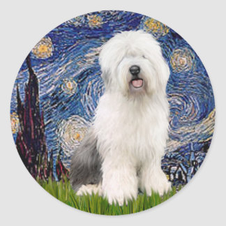 Starry Night - Old English #3 Round Sticker
