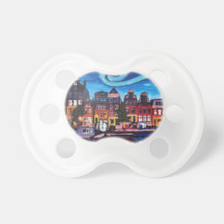 Starry Night over Amsterdam Canal Baby Pacifier