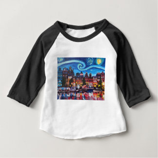 Starry Night over Amsterdam Canal Baby T-Shirt