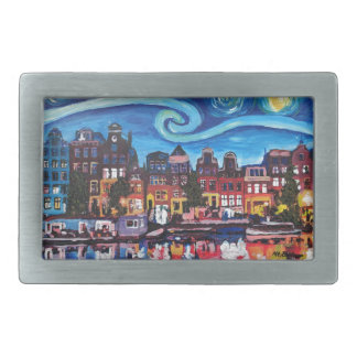 Starry Night over Amsterdam Canal Belt Buckle