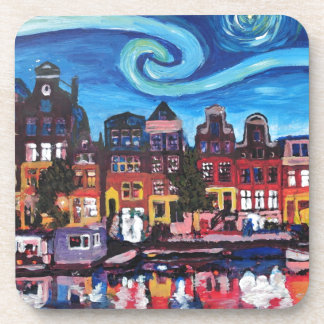 Starry Night over Amsterdam Canal Beverage Coaster