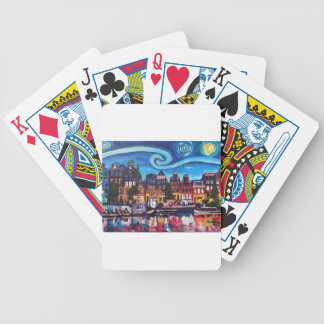 Starry Night over Amsterdam Canal Bicycle Playing Cards